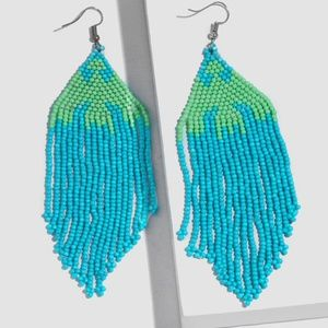 Blue Green Beaded Boho Gypsy Drop Tassel Earrings